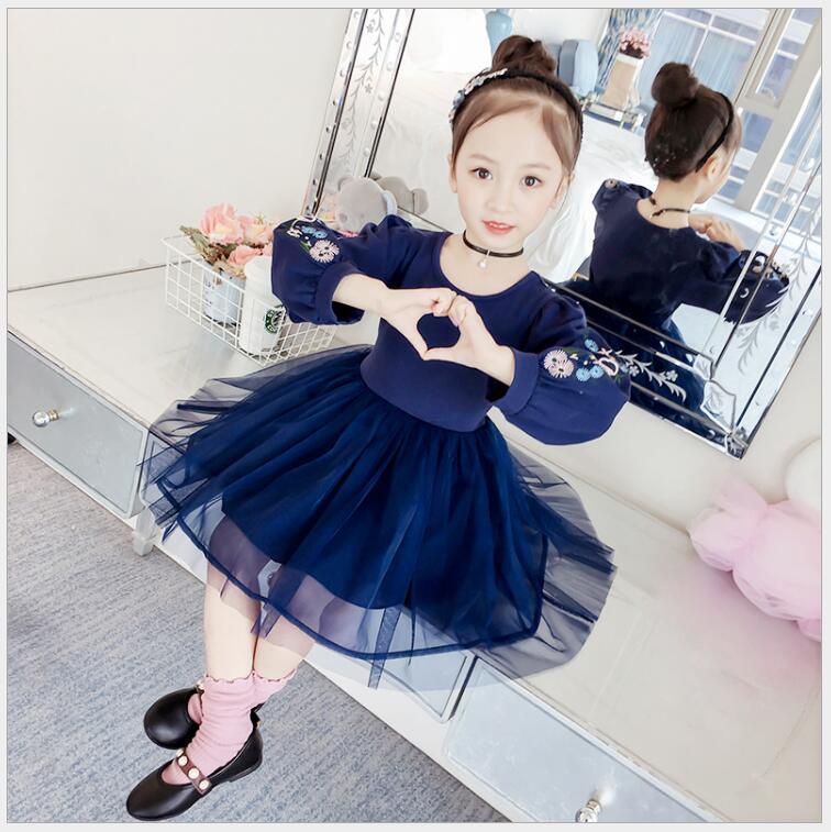 Nouvelles filles lanterne manches tuniques robe pour la fête d'anniversaire élégant adolescents décontracté automne princesse robe le jour de l'obtention du diplôme