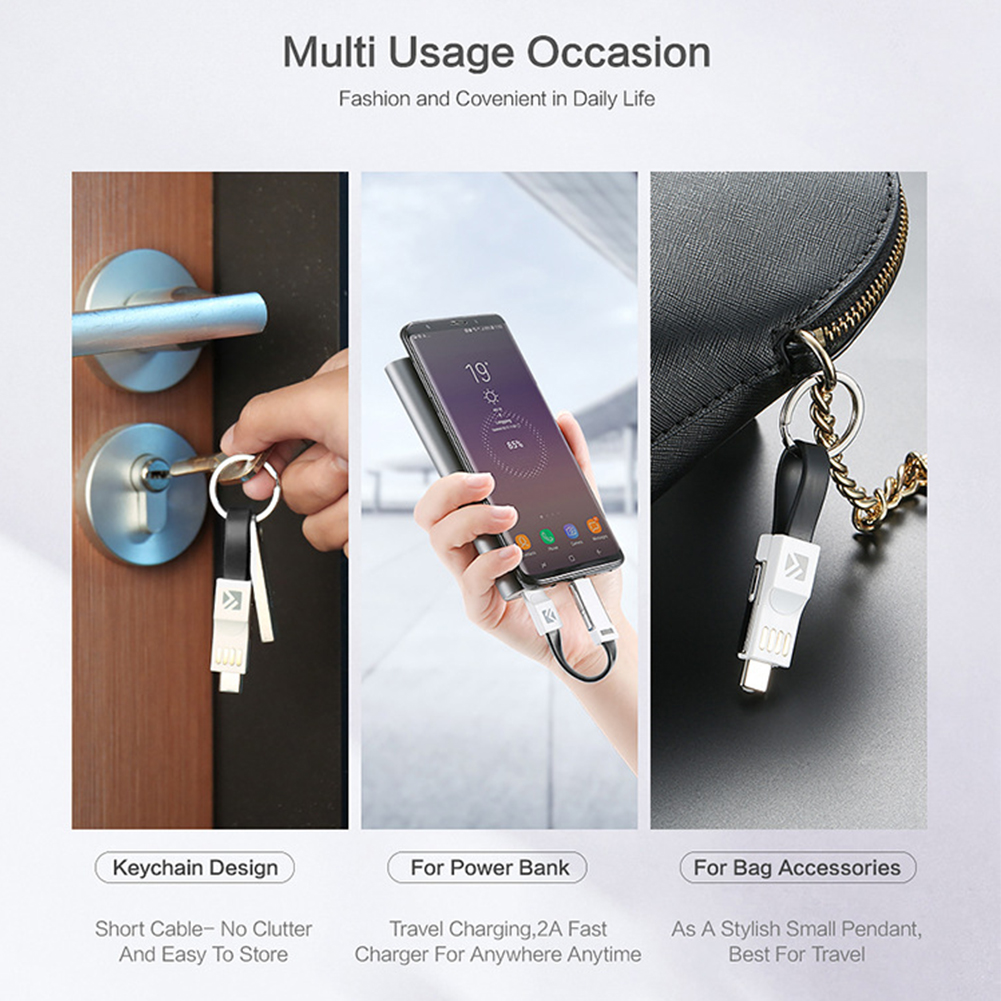 Image 2 - Magnetic Fast Charging Mobile Phone Accessories 3 In 1 Wire Data Line USB Cable Type C Portable Micro Keychain 2A For Samsung-in Mobile Phone Cables from Cellphones & Telecommunications on