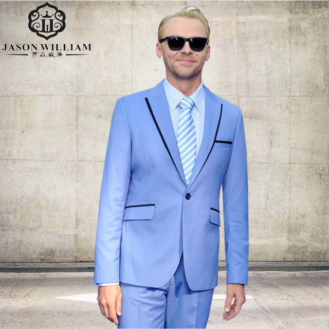 LN213 Custom Made Sky Blue Men Suits 2018 Party Prom Tuxedos ...