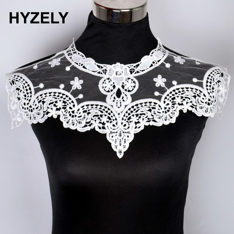 White Black Floral Lace Collar Fabric Trim DIY Embroidery Lace Fabric  Neckline Collar Applique Sewing Craft b3575d491864