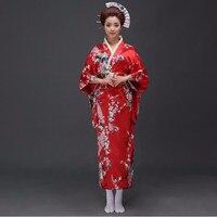 Traditional Women Sexy Satin Kimono Yukata With Obi Performance Dance Dress Japanese Cosplay Costume Flower One Size