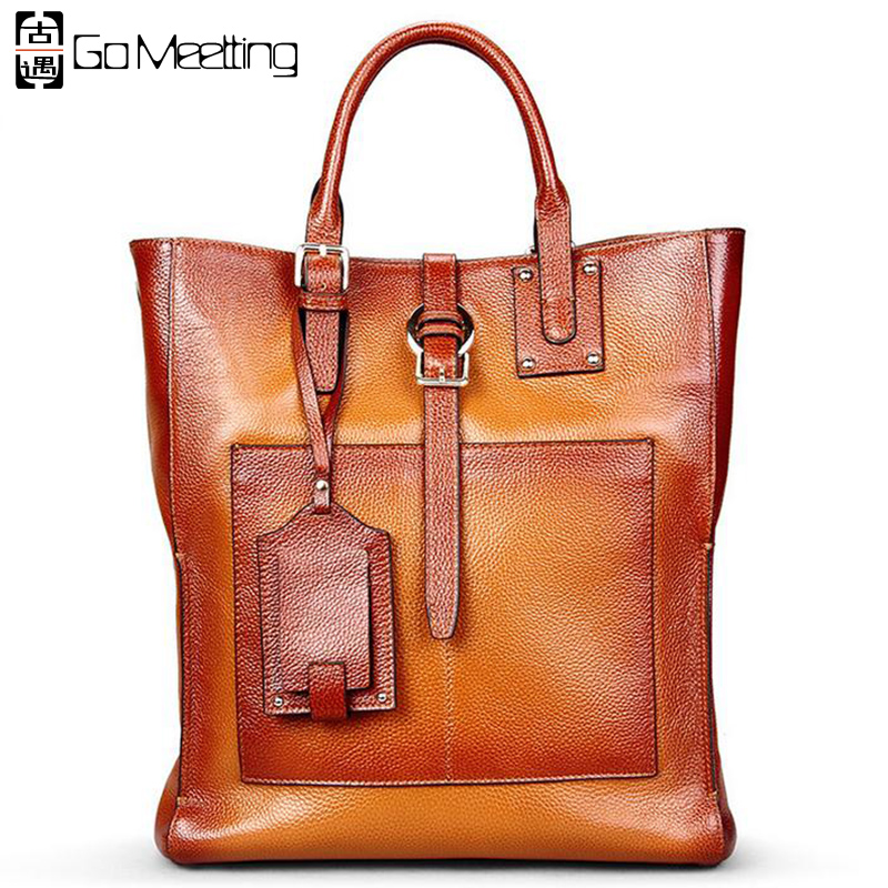 Go Meetting Luxury Brand Genuine Leather Women's Handbags High Quality Cowhide Women Shoulder Bag Vintage Totes Messenger Bag luxury genuine leather bag fashion brand designer women handbag cowhide leather shoulder composite bag casual totes