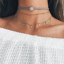 Crazy Feng Gold Color Chain Crystal Star Choker Necklace for Women Bijoux Pendant Necklace Boho Punk Layered Choker Collar Kolye stylish wave layered choker