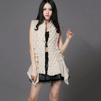 Female Real Knitting Wool Shawl Rabbit Fur Vest Lady Fur Cape Free Size Beige Black Color