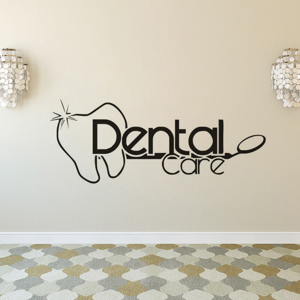 US $5.16 25% OFF|Wall Decal Dental Care Logo Wall Sticker Bathroom Wall  Poster Stomatology Decor Dental Clinic Window Decals Vinyl Art AY1545-in  Wall ...
