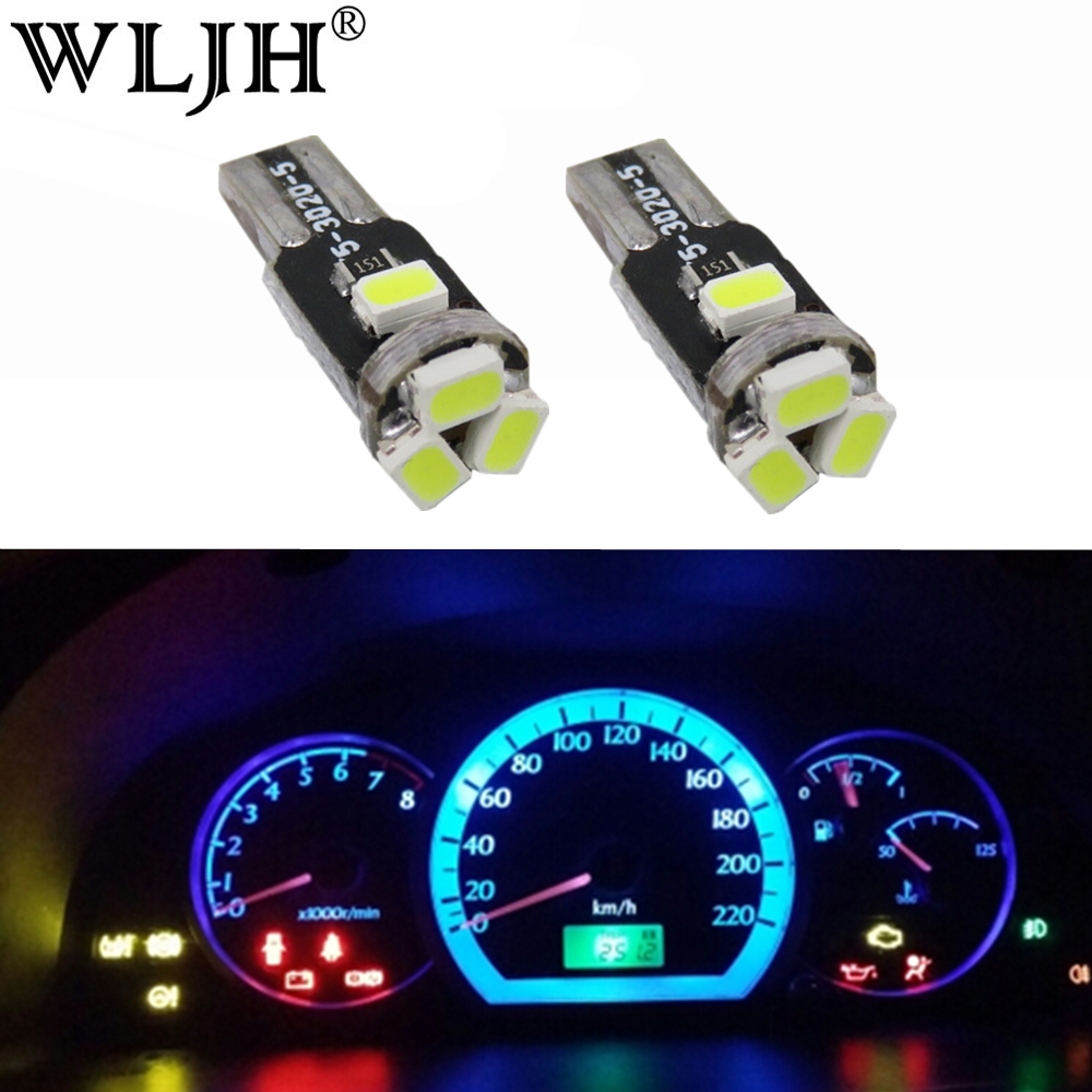 Yellow T3 3020 SMD 1-LED Dash Gauge Light Bulb 5 Pcs for Car Internal