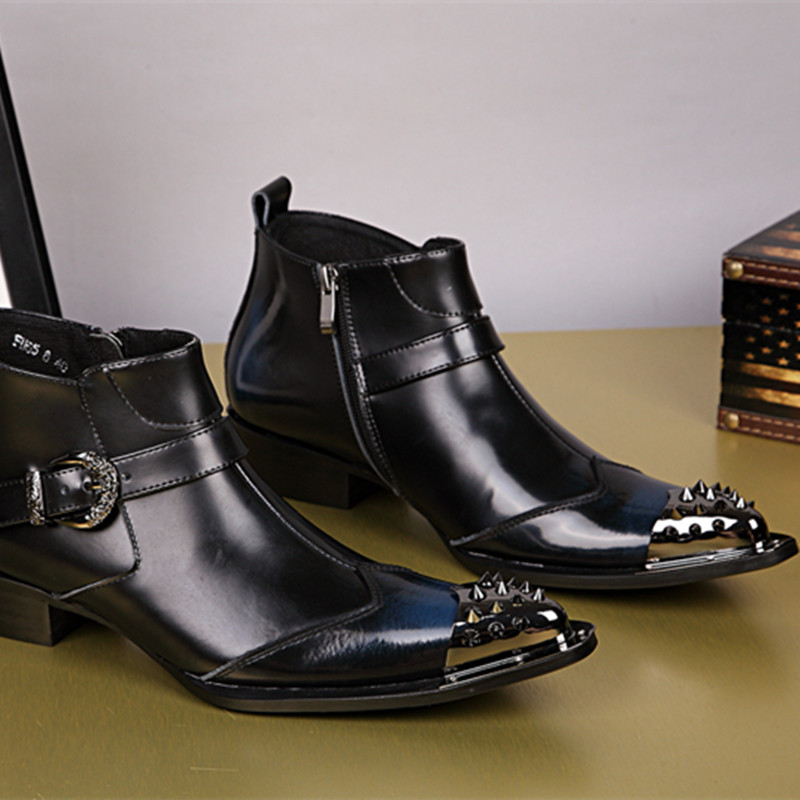 Zobairou chaussure homme black genuine leather shoes mens rubber rain boots studded military boots motorcycle