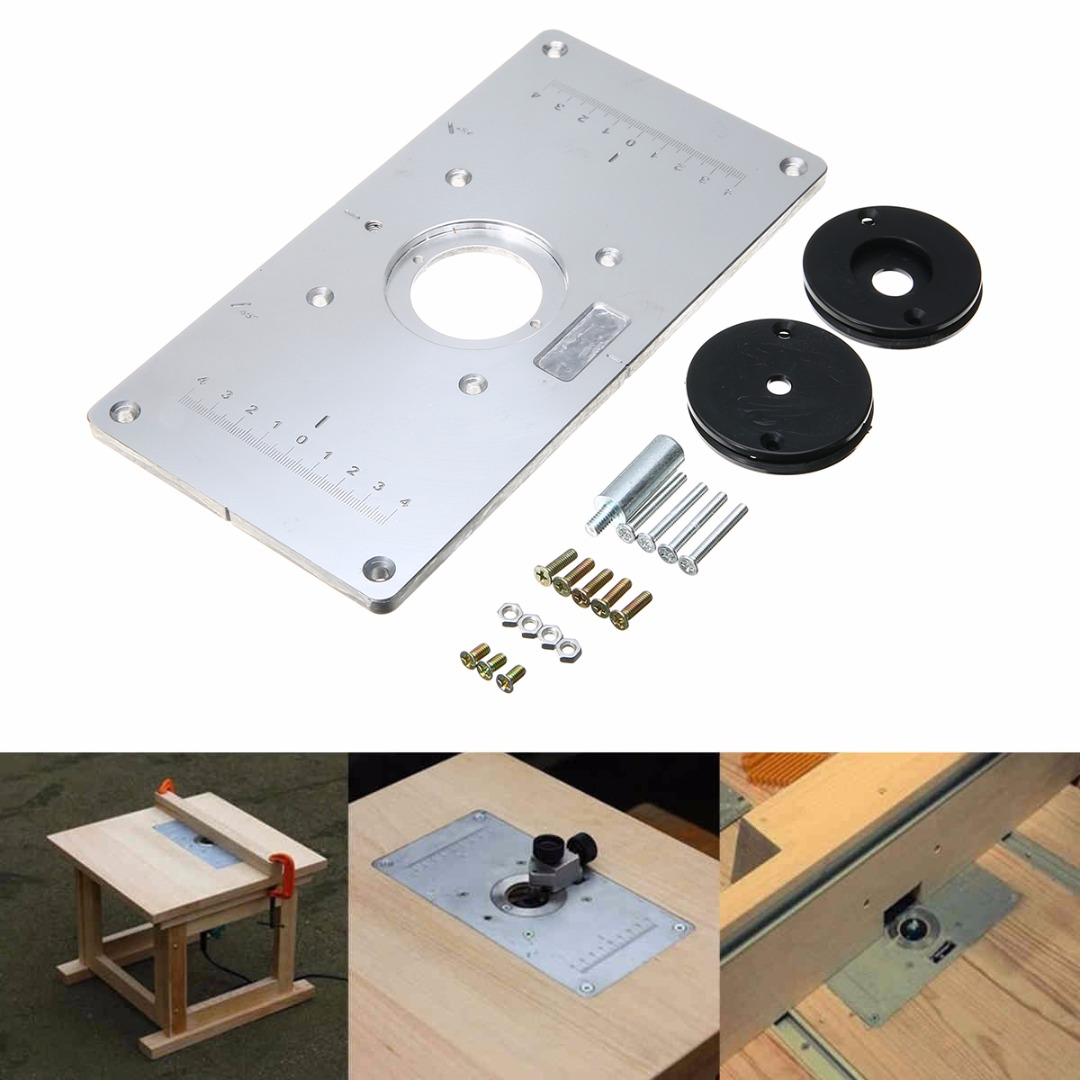 2351208mm aluminum router table insert plate with 4 rings and universal aluminum metal router table insert plate with 4pcs insert rings for diy woodworking tools mayitr keyboard keysfo Gallery