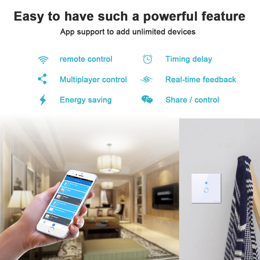 ITEAD Sonoff EU/US Plug Wifi Wireless Free Touch Remote Control Tempered Glass Switch Panel LED Light Smart Wall Switch itead sonoff touch switch eu us standard 1gang 1 way crystal glass wall touch switch remote control light switch for smart hom