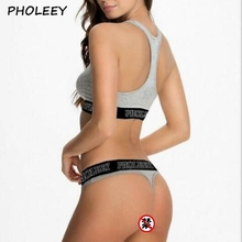 Pholeey Thong Suit Bra Set Female Fitness Workout Seamless A Set Of Se
