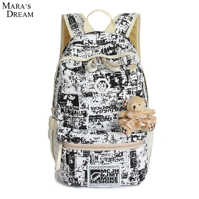 Mara's Dream 2016 School Backpack Shoulder Bag Canvas Big Capacity Zippers With Bear Laptop Bags Waterproof Backpacks teenager
