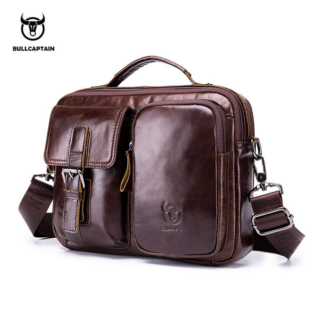 BULLCAPTAIN 2018 Genuine Leather Men Crossbody Bag Male Briefcase Messenger  bag casual Business briefcase Style men Shoulder bag 14074a751f13a