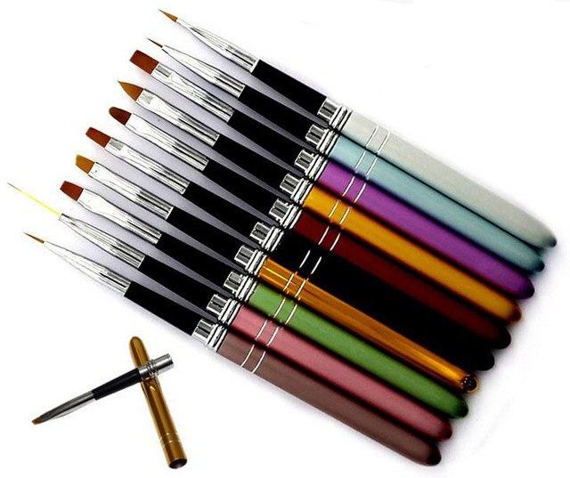 10Pcs 10 Colors Different Sizes Copper Handle Nail Art Brush Set Design Polish Nylon UV Gel Painting Nail Brushes