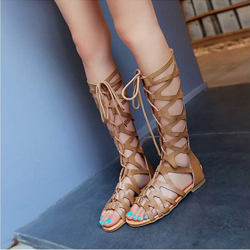 2017 New Fashion Gladiator sandals Rivets Knee High Casual Gladiator Sandal Flat Boots Women's Comfortable Sandals  S-118 цена 2016