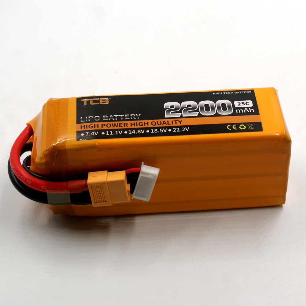 TCB 6S RC lipo battery 22.2v 2200mAh 25C 6s FOR RC airplane Drone AKKU free shipping 1s 2s 3s 4s 5s 6s 7s 8s lipo battery balance connector for rc model battery esc