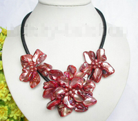 Baroque fleur rouge perle coquillage choker collier en cuir usine prix de gros femmes mot de cadeau bijoux