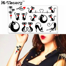 M-theory Sexy Black Cats Temporary Tattoos Henna Flash Tatoos Stickers 17x10cm Fake Tatto Sticker Swimsuit Makeup Tools