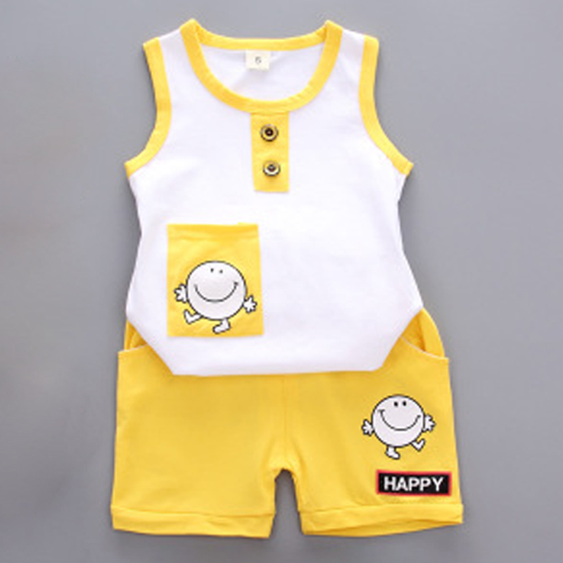 Baby Suit Infant Boy Clothes Set Sleeveless Baby Sets Tshirt Newborn Clothes Outfits Summer Suit Vest + Shorts Smiley Face ...