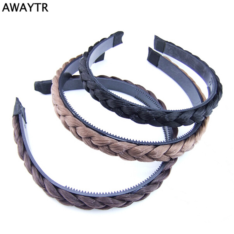 Awaytr Hair Accessories For Women Wig Twist Braid With Tooth Hair Hoop Vintage Wig Plait Braided Hairband Plaited Hair Jewelry