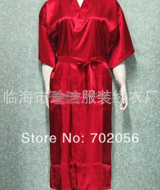 2016 Unisex mens womens Ladies Sólidos plain Cetim longo Robe Pajama Lingerie Pijamas Kimono Vestido pjs #3449