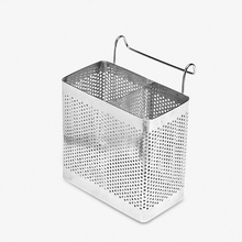 304 Stainless Steel Two Cells Tableware Storage Holder Hollow Out Design Hangable Chopsticks Cage Basket Free Shipping