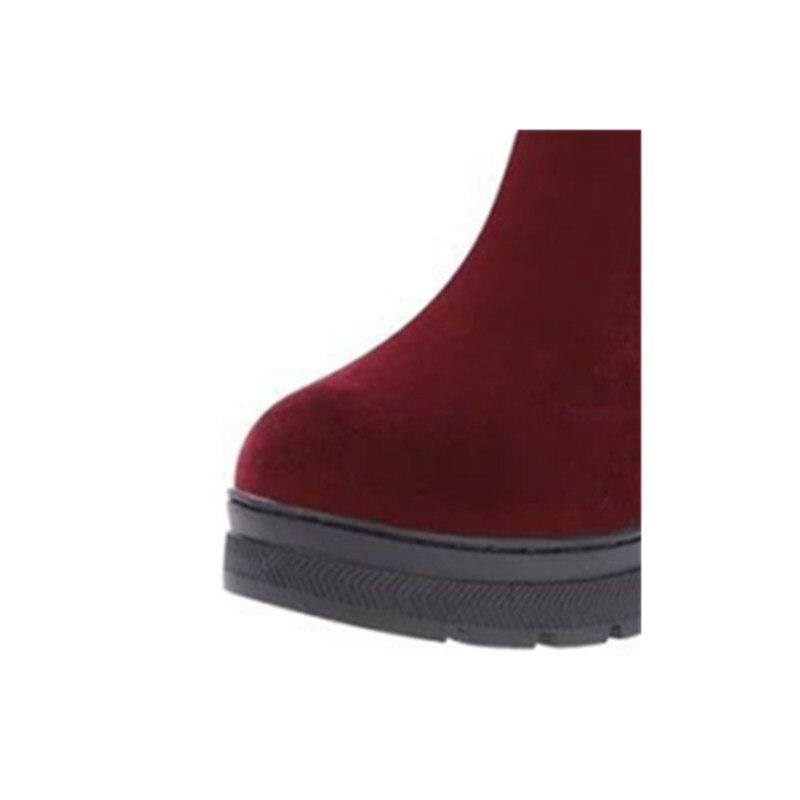 Mi 1 2 Fourrure De Chaussures Neige Bottes Chaud Sourire Classiques Bout Caoutchouc style Mode Casual mollet Hiver Rond En Nouvelle Troupeau Xiaying Appartements Femmes Style 7ybgY6fv