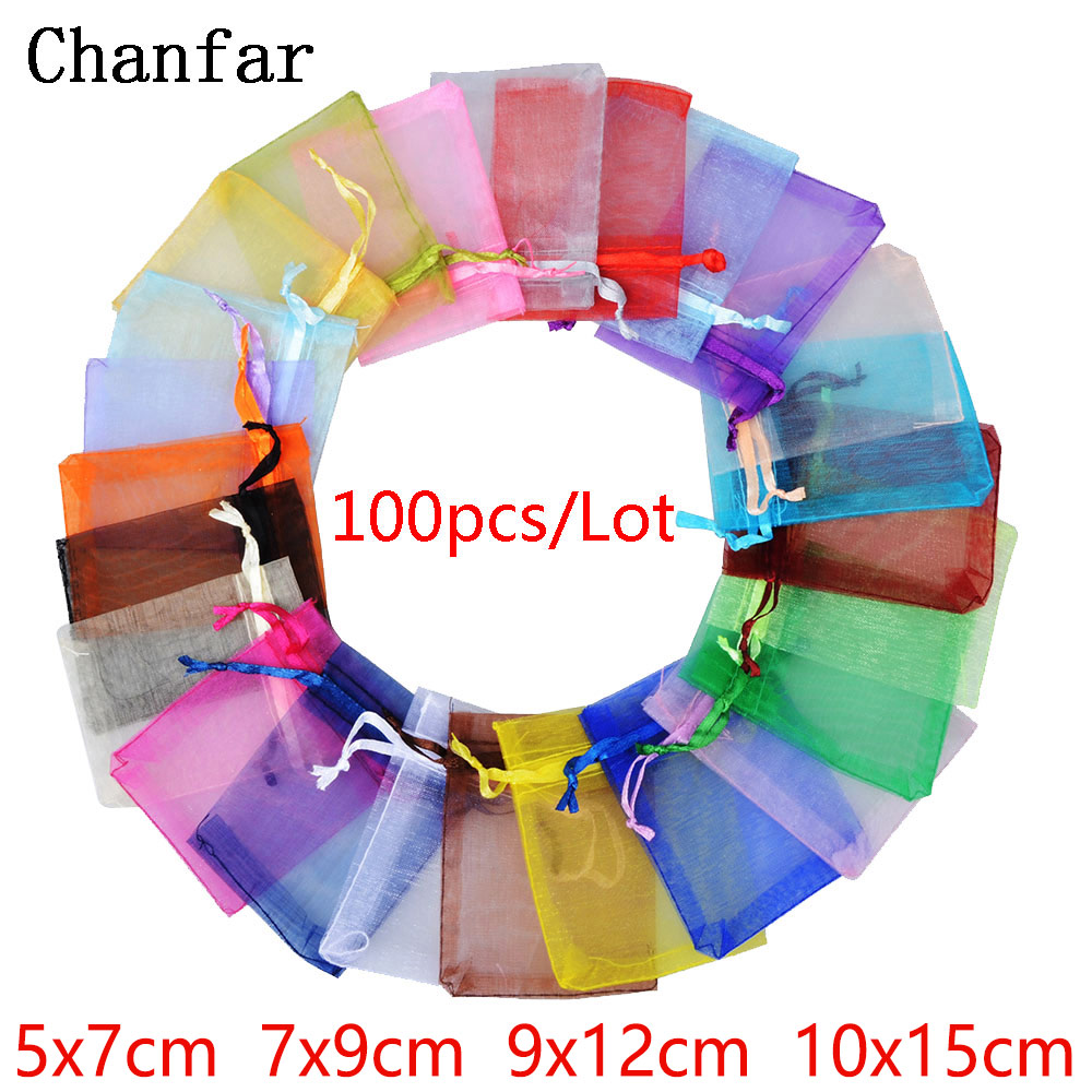 100pcs 24 Colors Jewelry Bag 5 7 7 9 9 12 10 15cm Wedding Gift Organza