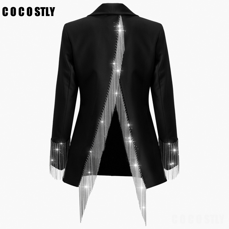 Blazer Women Heavy Chains Tassel Coats Female Long Sleeve Single Button Backless Irregular Overcoat Women 2019 Autumn