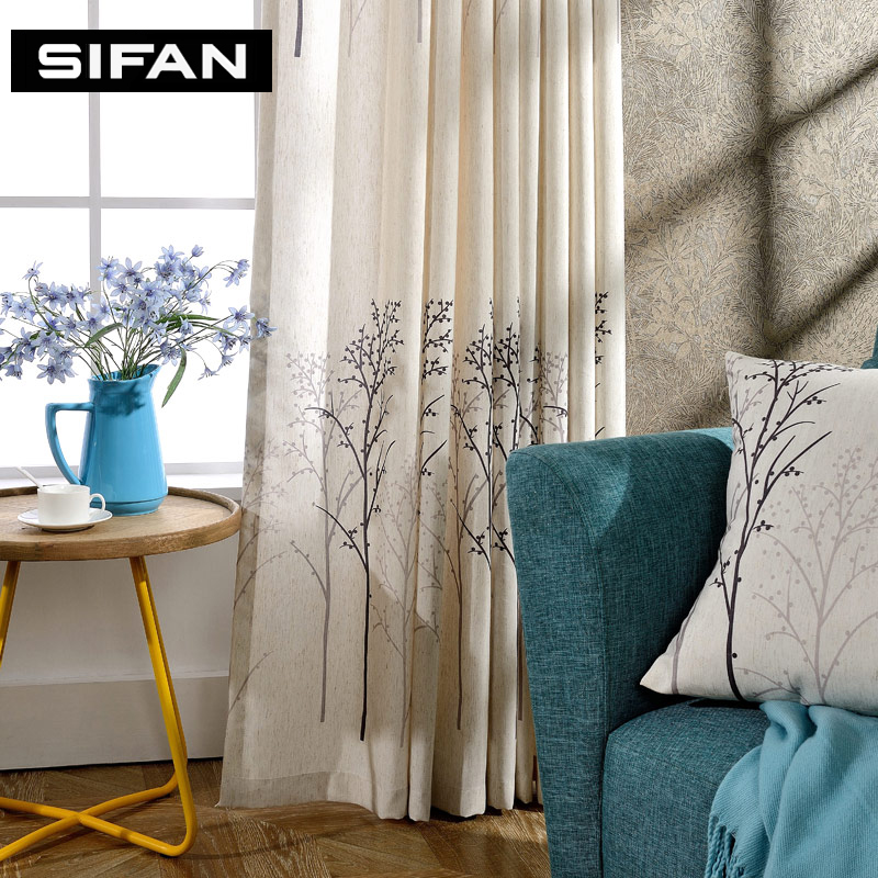 Tree Design Linen Printed Curtains For Living Room