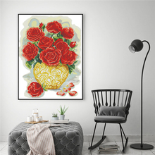 Beautiful Roses Floral Paintings 14CT 11CT DMC Cotton Thread Cross Embroidery Stitch Needlework Diy New Year Decorations