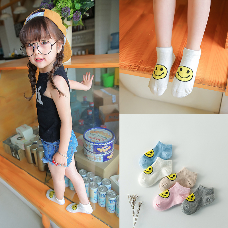 Childrens socks wholesale Cotton baby lovely smile cartoon round boat socks girl 5pairs child