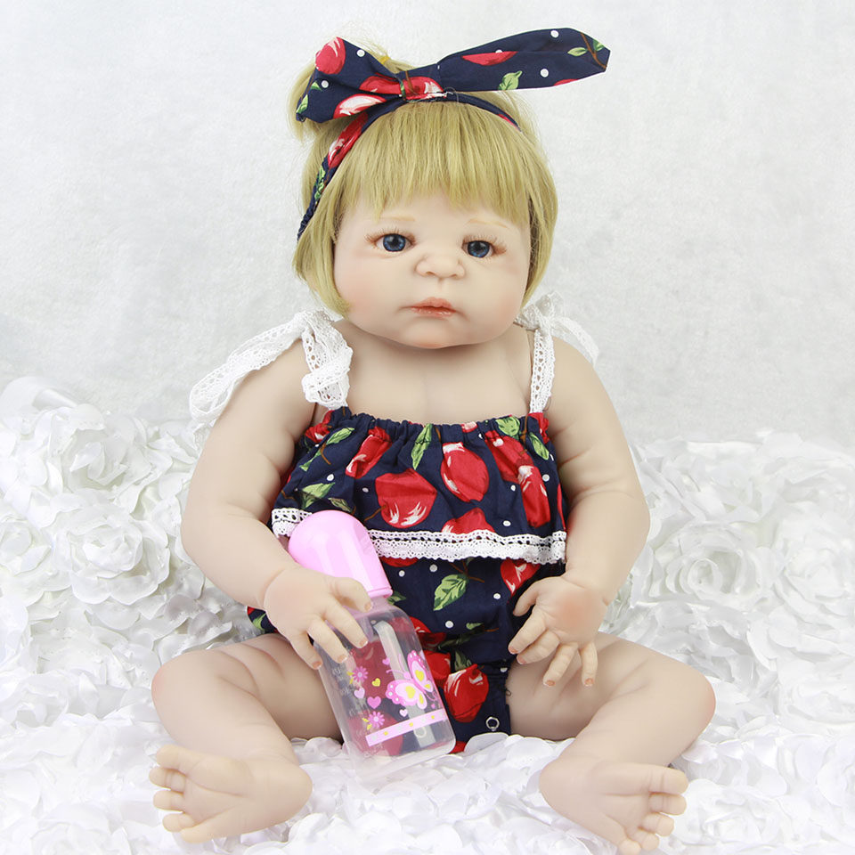 Lovely KEIUMI 23'' Reborn Baby Doll Full Body Silicone 57 cm Gold Hair Realistic Babies Dolls For Girl Birthday XMAS Gifts keiumi 57 cm reborn baby doll toys full body silicone vinyl 23 reborn boneca lovely princess babies girl toys birthday gifts