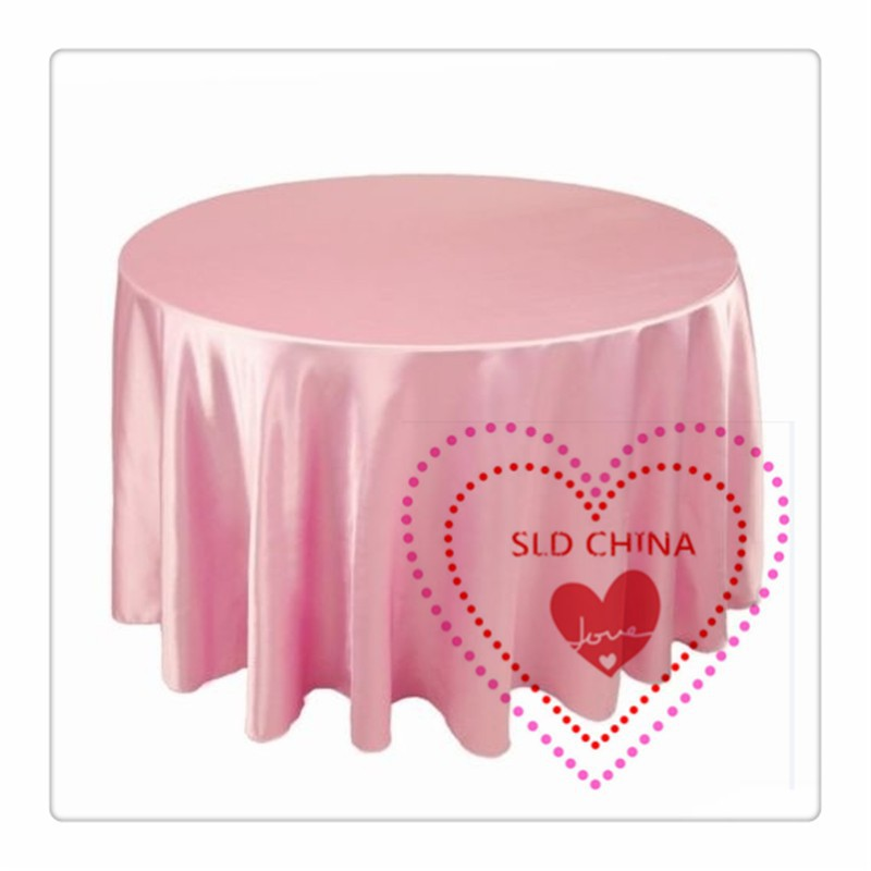 10pcs Free Shipping Round Tablecloth Pink Color 70 Satin