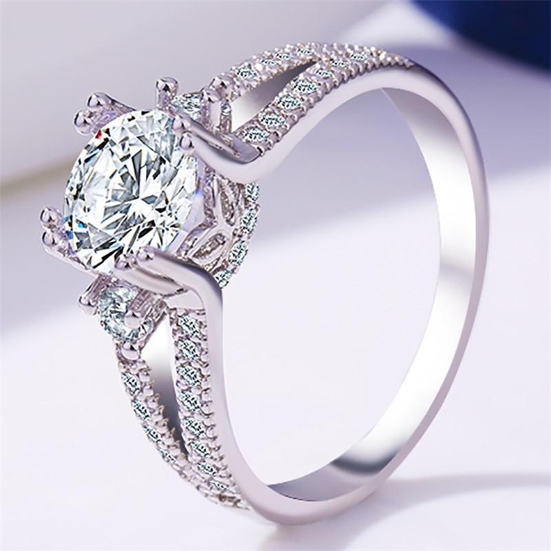 14k White Gold Diamond Ring, Royal Crown Classical Vintage Bizuteria Anillos De Wedding 925 Gemstone Topaz Jewelry Silver Ring