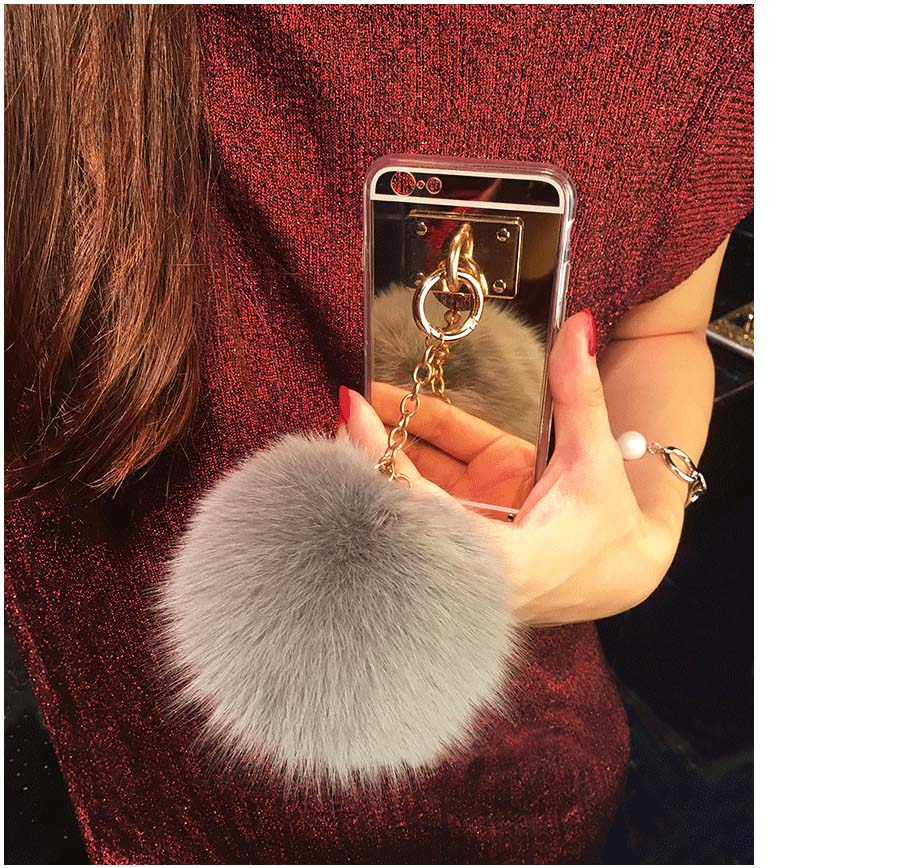 Silver Luxury Metal Rope Mirror Tassel phone Capa fake rabbit fur ball For iPhone 7 7Plus - Mobile Mania Competition October 2017
