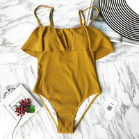 Cupshe Arizona Sunshine Solid Color Falabala One Piece Swimsuit Padded Bikini Set Summer Ladies Beach Bathing