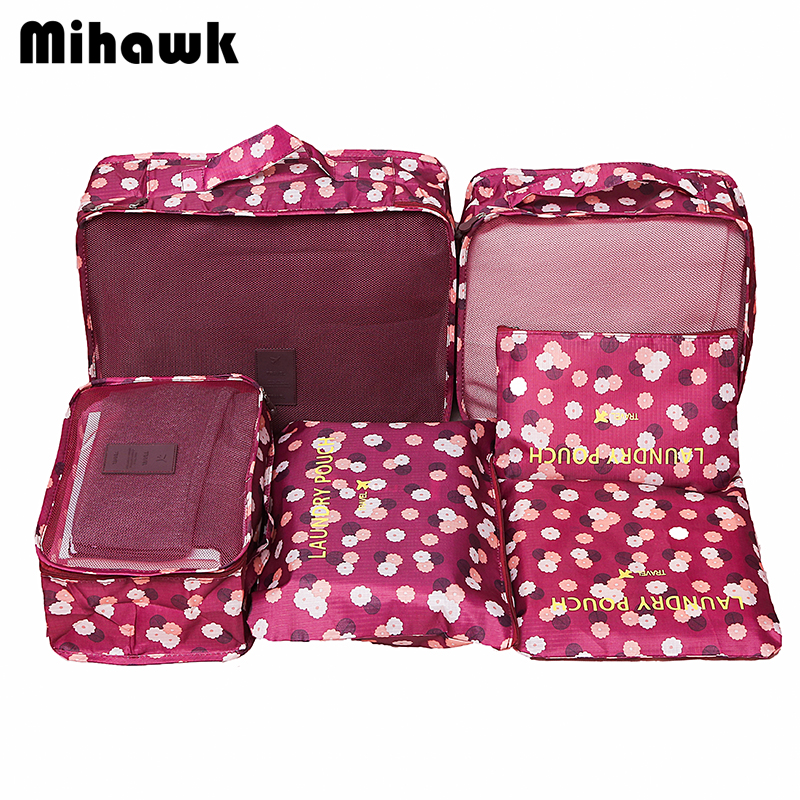 Mihawk  6Pcs/set Portable Packing Cube Travel Bags Women Clothes Cosmetic Sorting Storage Pouch Organizer Luggage Accessories