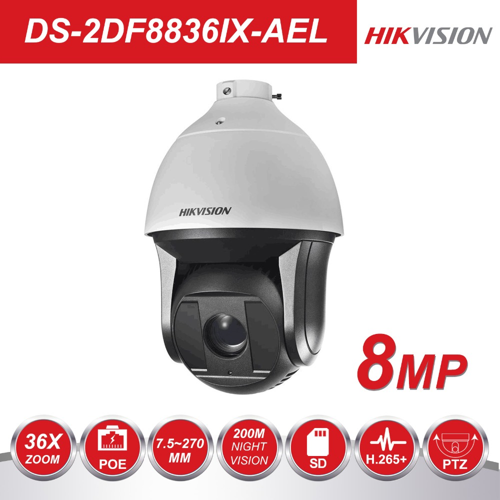 Hikvision супер HD Pan & Tile DS 2DF8836IX AEL градусов видео камера видеонаблюдения 7,5 8MP 270 360 мм 36X зум ИК PTZ ip камера POE