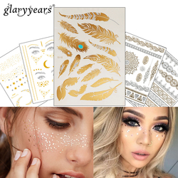 1 PC Flash Metallic Wasserdichte Tattoo Gold Silber Frauen Mode Henna YS-51 Pfau Feder Design Gesicht Sommersprossen Temporäre Tattoo