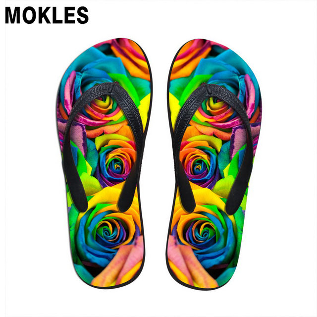 978df31a10c8 MOKLES summer fashion flip flops rubber slippers custom pictures printing  wear resistant men flats shoes