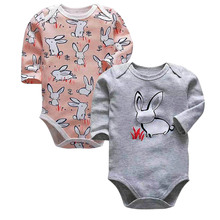 2Piece/lot Baby Boys Bodysuit Babies Newborn Toddler Long Sleeve Two Piece Body 3-24 Months Lovely Infant Girls Clothes