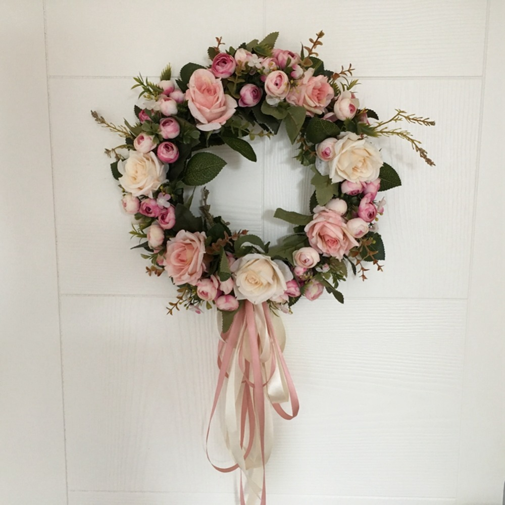 AsyPets Floral Artificial Rose Wreath Door Hanging Wall Window Decoration Wreath Holiday Festival Wedding Decor (40cm)-30