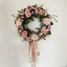 AsyPets Floral sztuczna róża wieniec drzwi wiszące dekoracje ścienne okno wieniec wakacje festiwal Wedding Decor (40cm) 30
