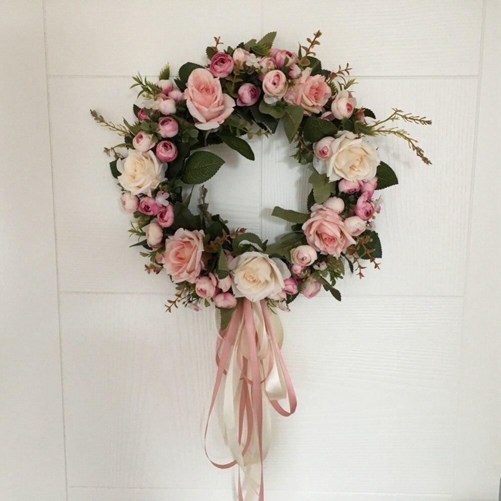 AsyPets Цветочная искусственная роза Венок Дверь висячая Стена Окно украшение венок праздник фестиваль Свадьба Декор (40 см) 30|artificial rose wreath|decorative wreathrose wreath | АлиЭкспресс