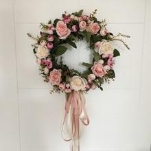 Asypets 花人工ローズ花輪ドア壁掛け窓装飾花輪ホリデー · フェスティバル結婚式の装飾 (40 センチメートル) 30