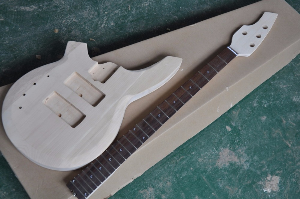 free shipping sell body and neck 4 strings bass DIY Electric Bass Guitar Kit Bolt On bass kit promotion left handed bass kit