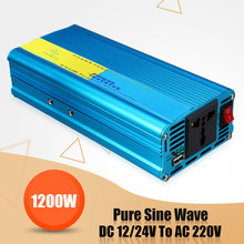 Car Caravan Camping 1200W DC12/24V To AC 220V Pure Sine Wave Watt Power Inverter 8 Intelligent Protection Buzzer Reminder High(China)