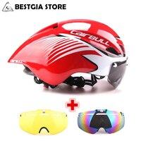 3 Lens Aero 290g TT Goggles Bike Helmet Road Bicycle Sports Safety Helmet Riding Mens Racing