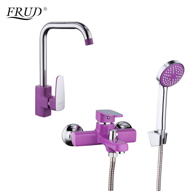 FRUD Hot Sale Zinc Alloy Purple Kitchen Faucets Bath Faucet Zinc Alloy Body Surface Spray Painting Bathroom Tap R40302+R32302