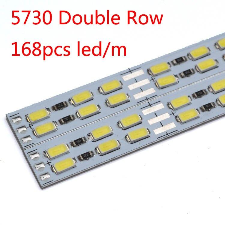 100pcs/lot LED double line hard strip bar light 12v light bar 168pcs LED/M 5630/5730 bar strip jewelry counter hard light